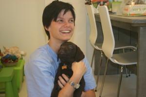 bezoek van herstelde parvo pup